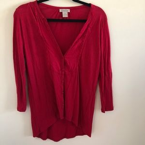 LUCKY BRAND RED BUTTON UP BLOUSE